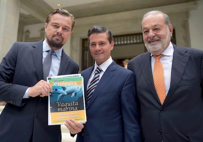 Leonardo DiCaprio, President of Mexico Enrique Peña Nieto, and Carlos Slim (From Left) as seen in 2017