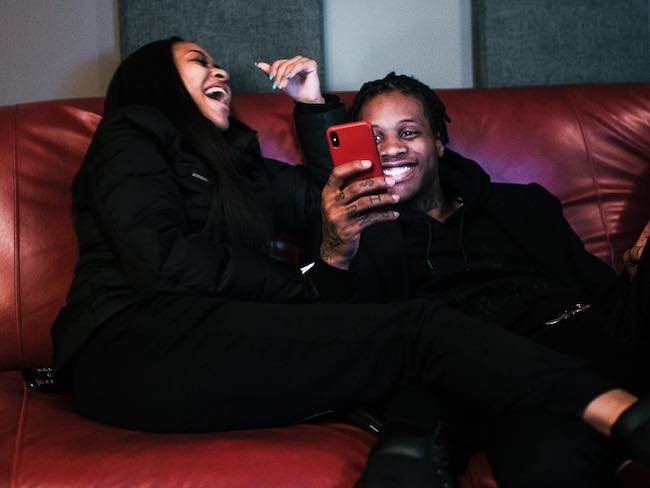 Lil Durk and India Royale in an Instagram selfie in December 2017