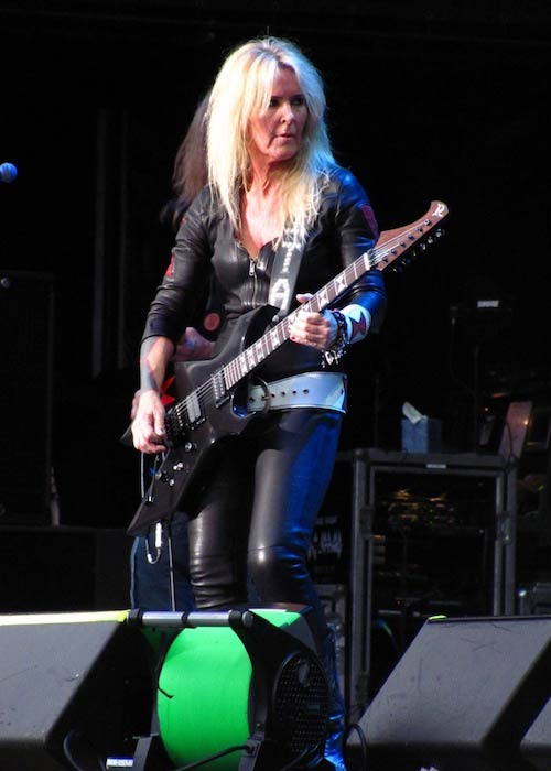 Lita Ford giving performance at Jones Beach in July 2012