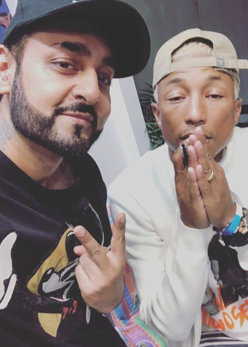 Manj Musik (Left) and Pharrell Williams in a selfie in March 2018