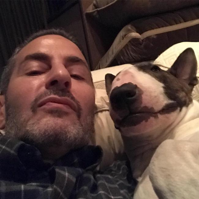 Marc Jacobs with his dog Neville Jacobs in October 2017