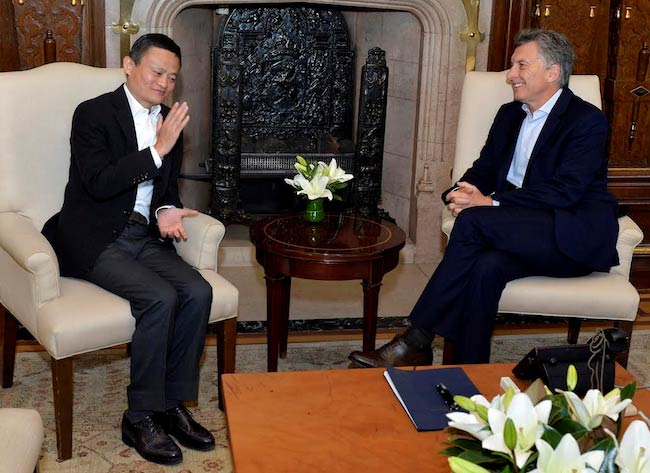 Mauricio Macri and Jack Ma at Casa Rosada in 2017