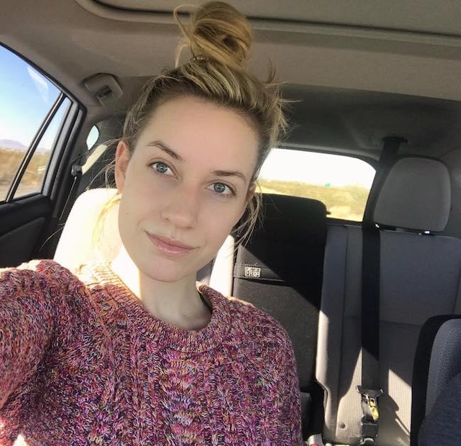 Paige Spiranac makeup free car selfie in December 2017