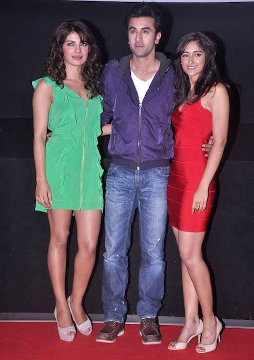 [From Left] Priyanka Chopra, Ranbir Kapoor, and Ileana D'Cruz at the promo launch of Barfi! in 2012
