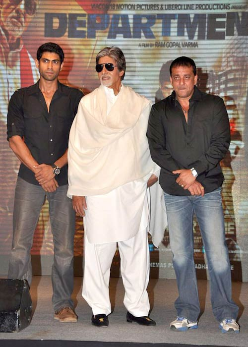 Rana Daggubati, Amitabh Bachchan, and Sanjay Dutt during a press conference of 'Department' in 2012