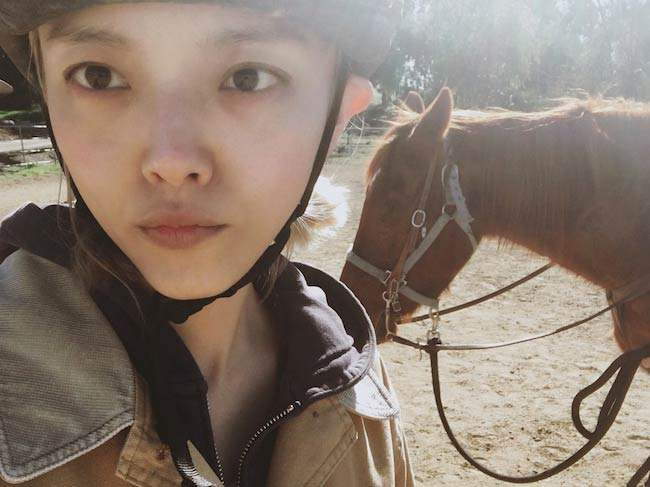 Rila Fukushima selfie while horse riding in February 2018