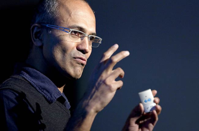 Satya Nadella speaking at Microsoft Search Summit event in San Francisco, California, U.S. in December 2010