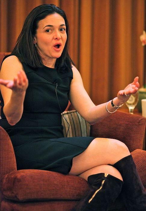 Sheryl Sandberg during TED Women talk on leadership in 2010