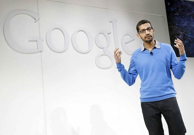 Sundar Pichai while talking during Google conference in 2014
