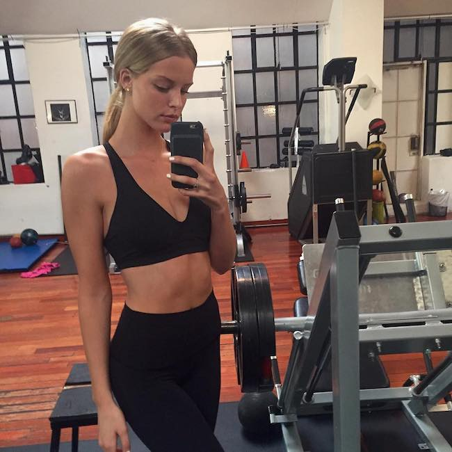 Abby Champion workout selfie in Hollywood, California in March 2017