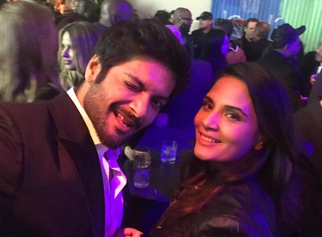 Ali Fazal and Richa Chadda in a selfie at WME Oscar Party in 2018