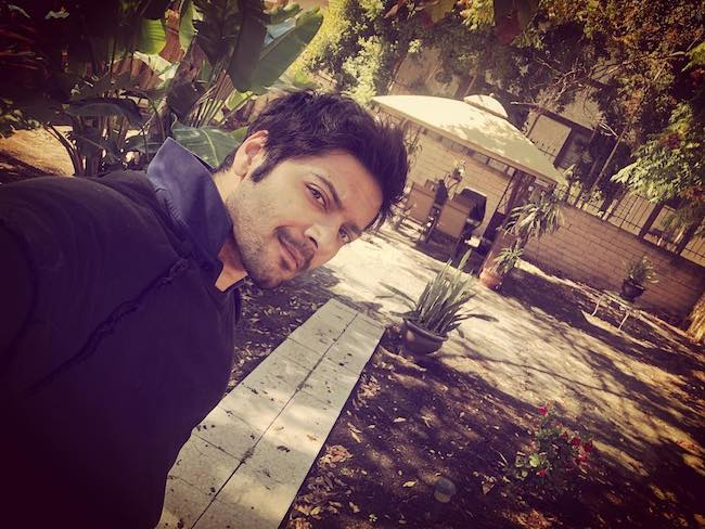 Ali Fazal in a selfie at backyard in March 2018
