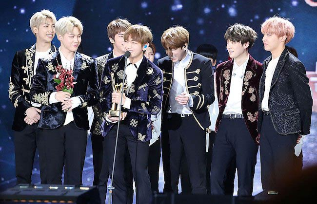 BTS won the donsang award at the 2017 Golden Disk Awards in Seoul