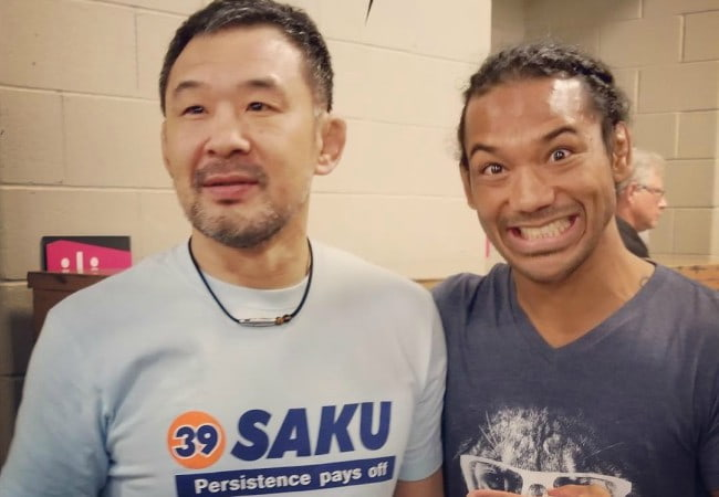 Benson Henderson (Right) and Kazushi Sakuraba as seen in July 2017