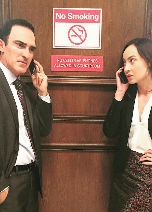 Courtney Ford and actor Patrick Fischler in a still from a show