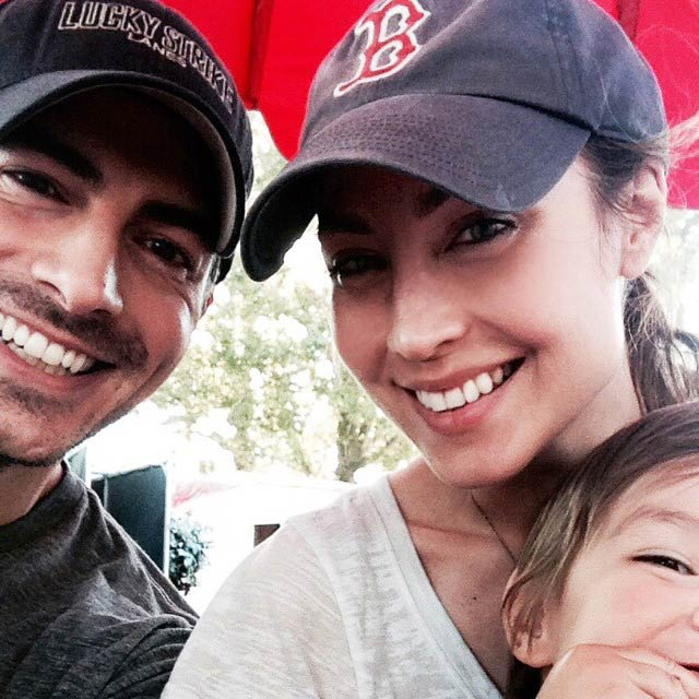 "Courtney Ford with husband Brandon Routh and son Leo James Routh in 2015 supporting ""Got Your 6"" cause"