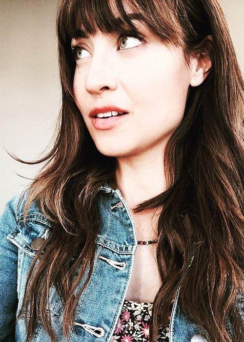 Courtney Ford's bright green eyes in a October 2016 picture