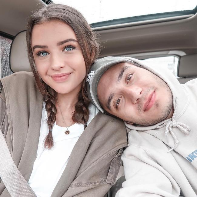 Gabriel Conte and Jess Conte in a car selfie in March 2018