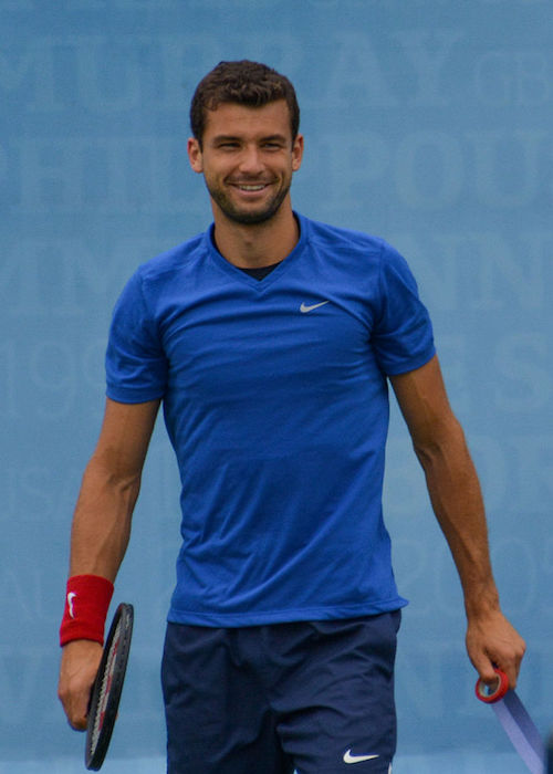 Grigor Dimitrov on the practice court during Aegon Championships at Queen's Club in June 2015