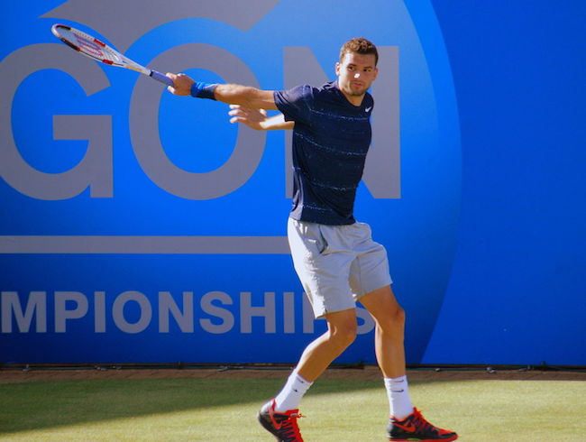 Grigor Dimitrov playing during Aegon Championships in 2014