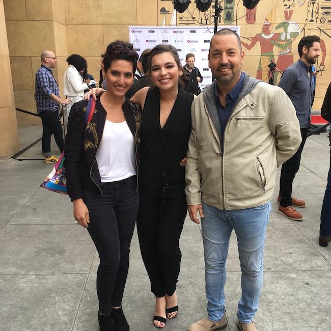 Isabella Gomez with her mom and dad outside Egyptian Theatre in 2017
