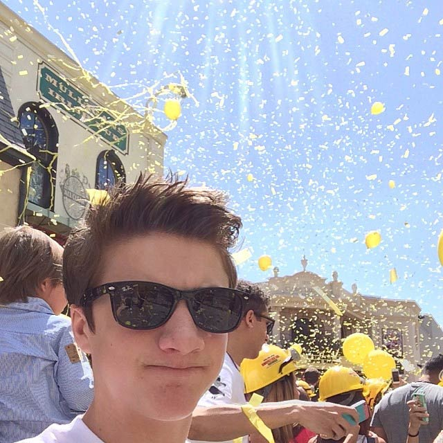 Jake Short during a Minions Ride Grand Opening in April 2014