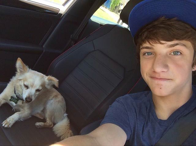 Jake Short in a car selfie in 2014 with his dog