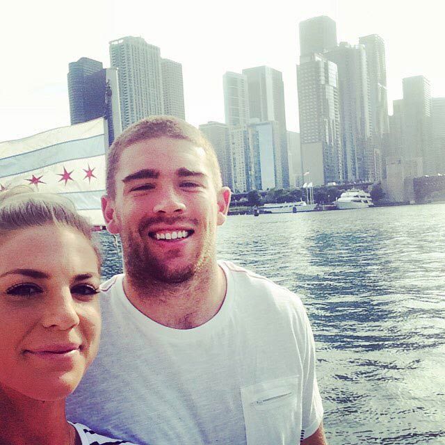 Julie Ertz and Zach Ertz while boat tours in Chicago in 2015