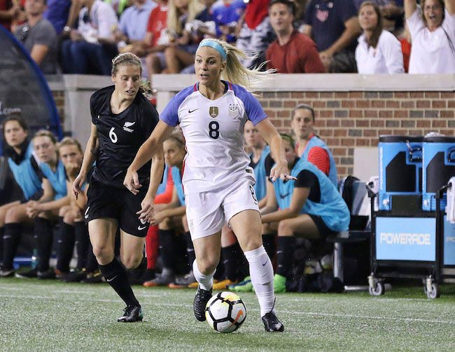 Julie Ertz in the middle of a match in 2017
