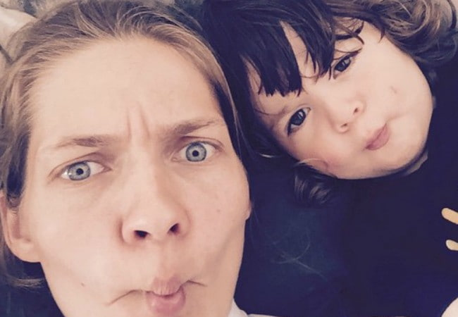 Karolin Wolter in a selfie with her son as seen in July 2015