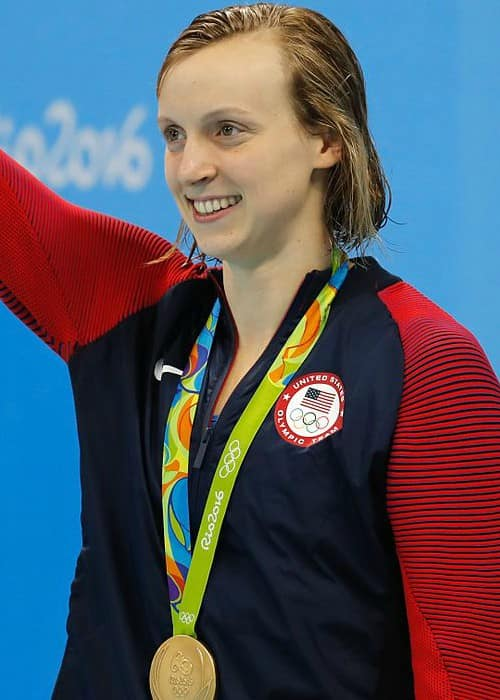 Katie Ledecky receiving the gold medal at the Rio Olympic Games in August 2016