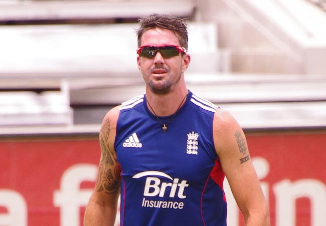 Kevin Pietersen during a practise session as seen in 2014