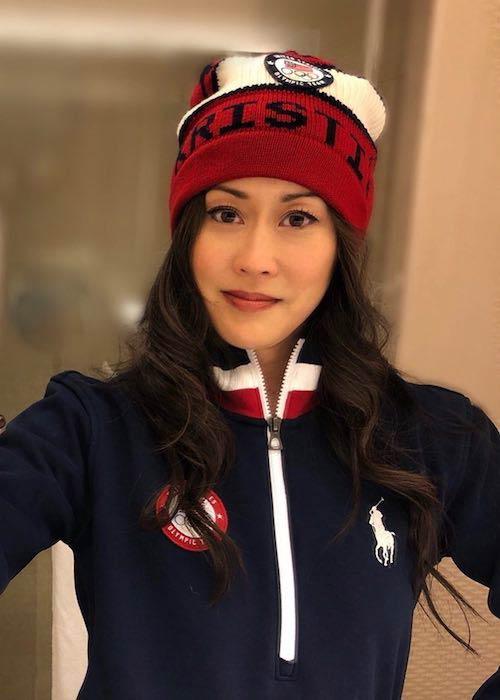 Kristi Yamaguchi wearing Polo Ralph Lauren during PyeongChang 2018 Olympic Winter Games