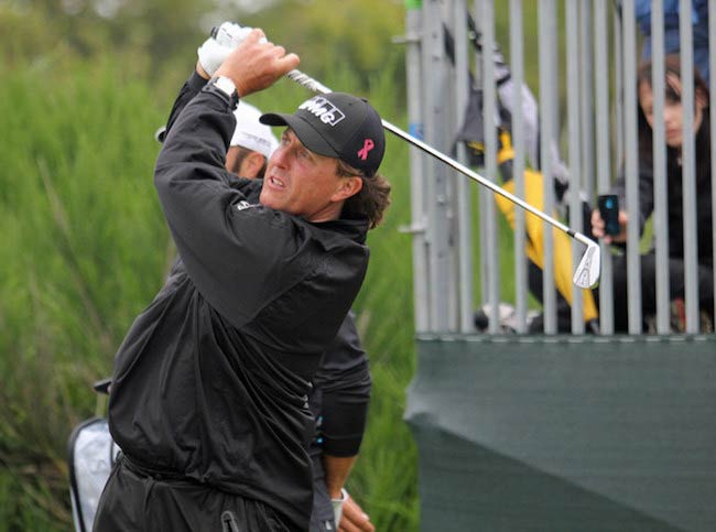 Phil Mickelson while hitting a shot in 2012
