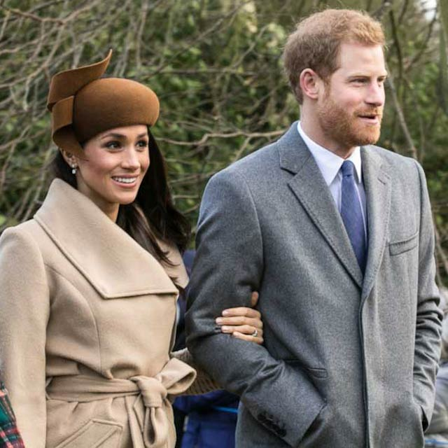 Prince Harry and Meghan Markle heading towards Sandringham based church on December 25, 2017