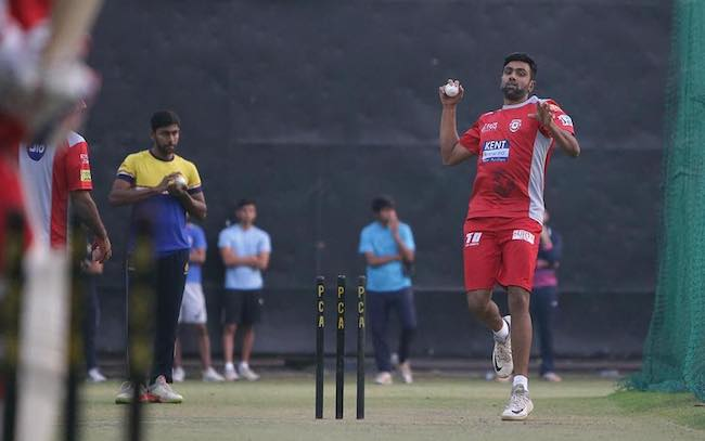 Ravichandran Ashwin during a practice session of his IPL team KXIP in April 2018 at home ground in Mohali