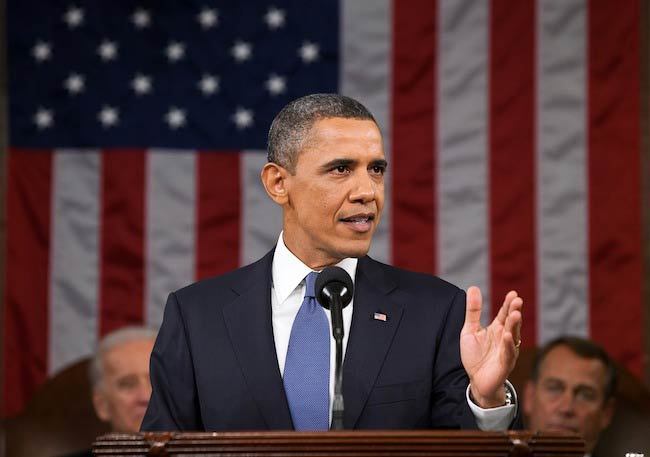 Barack Obama while addressing the audience