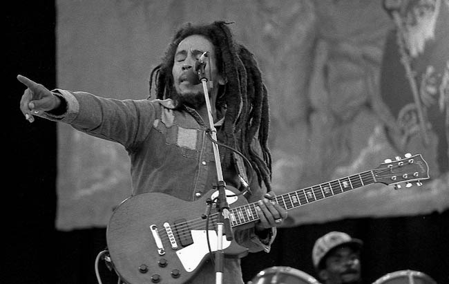 Bob Marley performing at Dalymount Park in July 1980