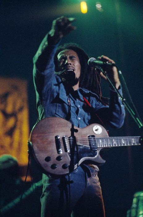 Bob Marley performing at Forest National in Brussels, Belgium during the Exodus tour in 1977