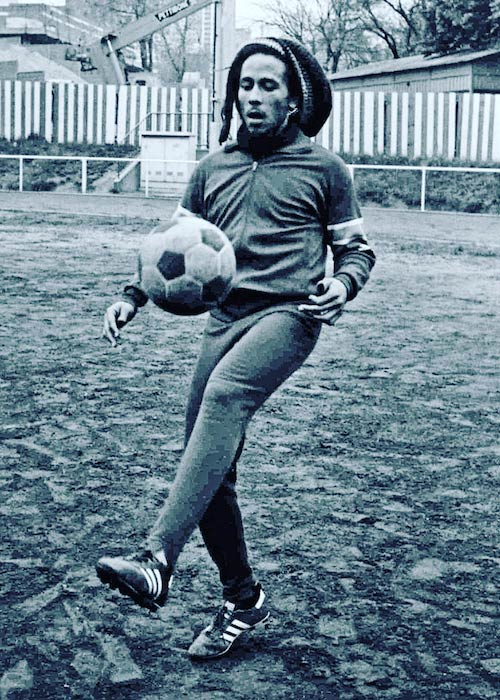 Bob Marley playing football in Paris during the Exodus tour in 1977