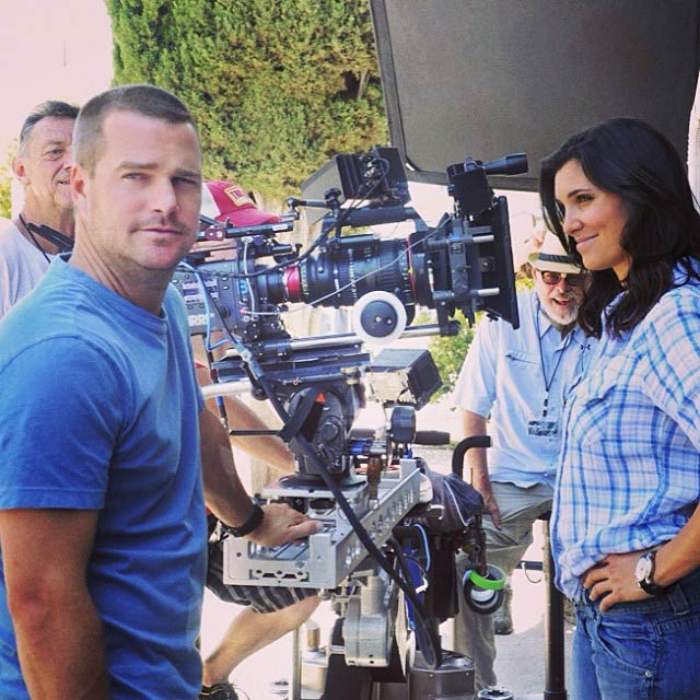 Chris O'Donnell and Daniela Ruah on the set of NCIS: Los Angeles in October 2013