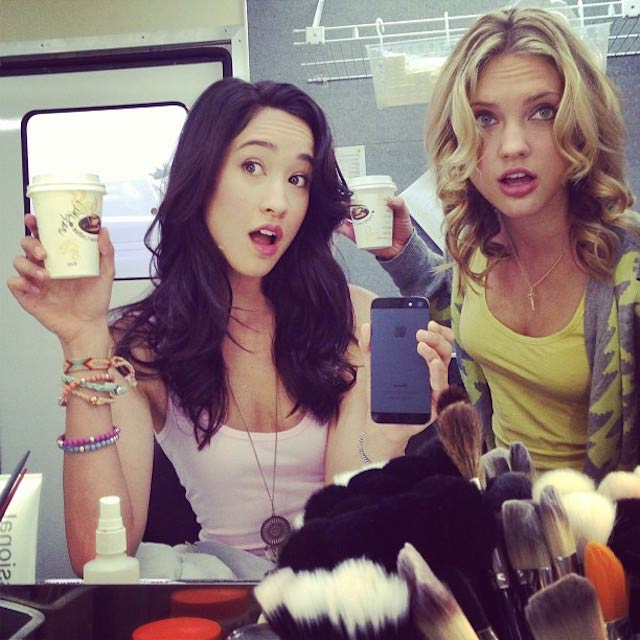 Christina Masterson while on set in the makeup room with Ciara Hanna in 2013