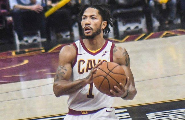Derrick Rose of the Cleveland Cavaliers, seen playing in 2017