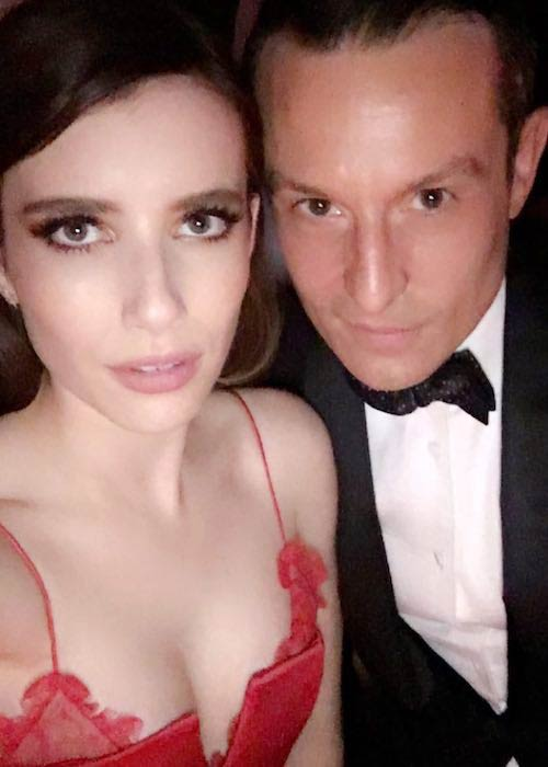 Emma Roberts with designer Jonathan Saunders on a date at Met Ball in May 2017