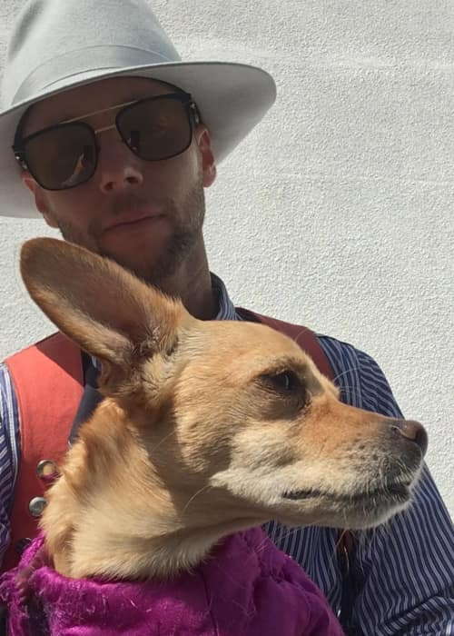 Greg Cipes with his dog as seen in March 2018