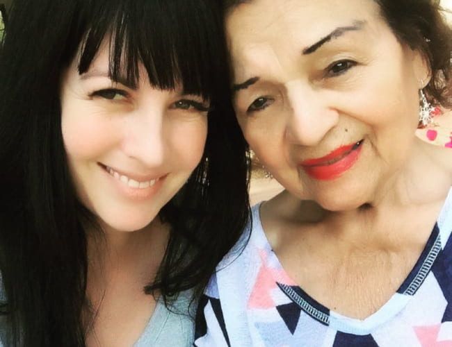Grey DeLisle (Left) in a selfie with her grandmother as seen in July 2015
