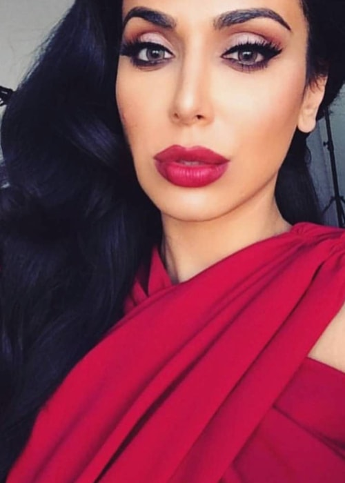 Huda Kattan in a selfie as seen in April 2018