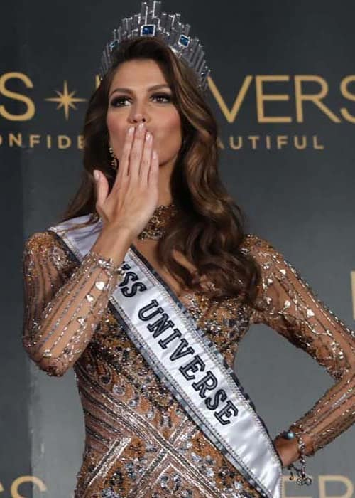 Iris Mittenaere during a press conference after the 65th Miss Universe beauty pageant in January 2017