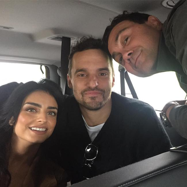 Jake Johnson (Center) with Aislinn Derbez (Left) and Joe Lo Truglio (Right) in March 2017