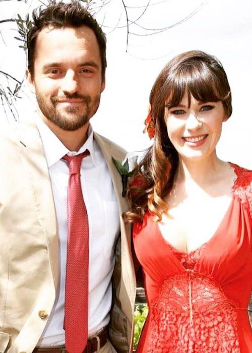 Jake Johnson and Zooey Deschanel in May 2016